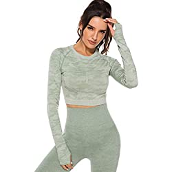 Tops Yoga Camiseta Deportiva Sin Costura Mangas Larga Fitness Mujer Gimnasio2320 Verte S