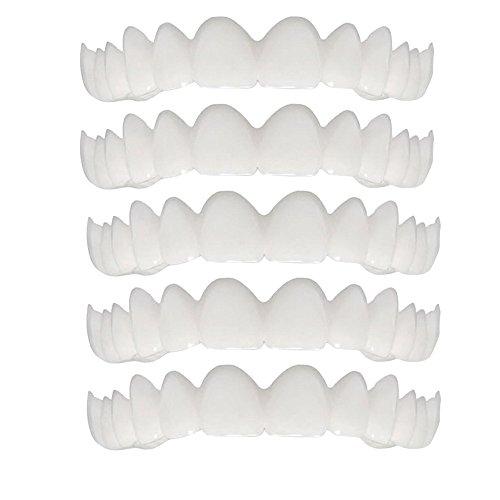 5 Stück Simulation Hosenträger OdeJoy Zahn Furnier Zähne Aufhellung Stift Temporär Lächeln Komfort Passen Kosmetik Zähne Prothese Zähne Oben Kosmetik Furnier Teeth Denture (5 PC, Weiß)