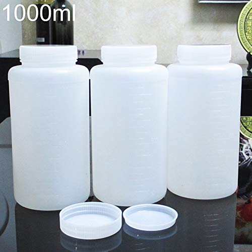 Livecity Flüssigkeitsbehälter Vorratsflasche, 1000ml Plastik Vorratsflasche für chemische Flüssigkeit Fläschchen Reagenz Laborbedarf leer Weiß -