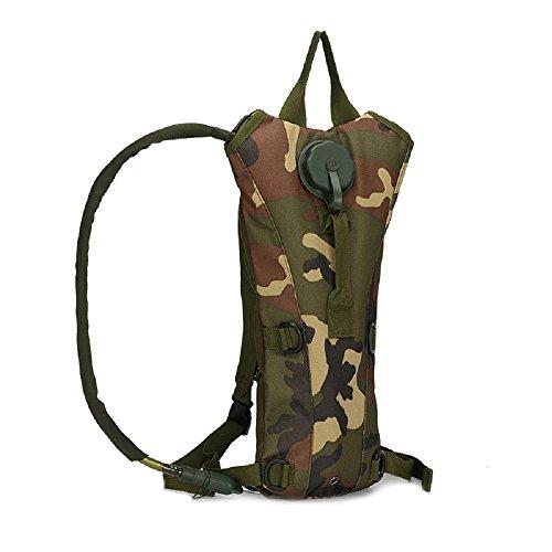 Militare tattico zaino con sistema di idratazione 3L Nylon Panno Borsa Acqua con 3L idratazione sport escursionismo arrampicata zaino idratante, Army Green jungle camo