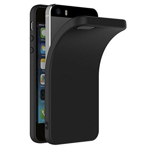 iPhone SE, 5S, 5 Hülle Schwarz Backcover Silikon Schutzhülle im Basic Design Cover aus TPU Rückschale (Iphone 5s Schwarz)