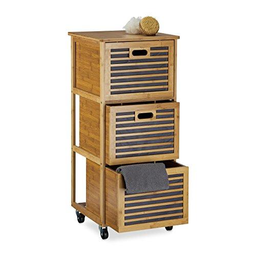 Relaxdays Caisson à roulettes avec 3 tiroirs étagère colonne de rangement en bambou salle de bain H x l x P: 92 x 41 x 41 cm armoire accessoires douche serviettes en bois avec roues, nature
