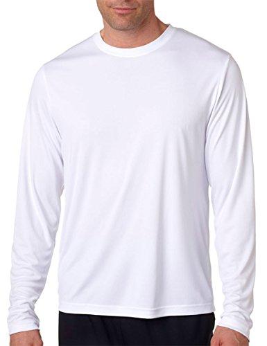 Hanes, maglietta a manica lunga Cool DRI con protezione UPF 50+, confezione da 2 1 Navy / 1 White