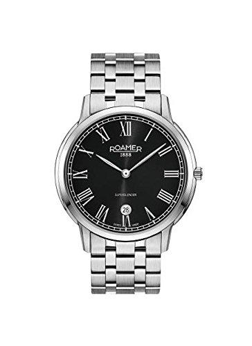 Roamer Hombre Reloj de Cuarzo con Negro Esfera analógica Pantalla y Plata Pulsera de Acero Inoxidable 515810415250