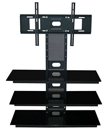 Jago TV Ständer Standfuß mit 3 Regalen, bis 117,5cm (47 Zoll), schwarz -