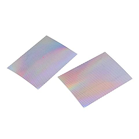 MagiDeal 2Pcs Reflective Holographic Scales Prism Film Fishing Lure Tape 3.9 x 2.9inch - 02,