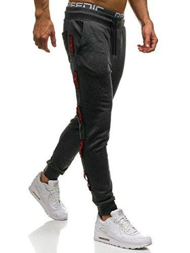 BOLF Pantaloni da tuta – Tipo jogger – Con patch di ecopelle - Stile street – Da uomo F6F Grafite-Rosso_0921