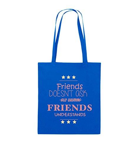 Comedy Bags - Friends doesn't ask silly questions friends understands - Jutebeutel - lange Henkel - 38x42cm - Farbe: Schwarz / Weiss-Neongrün Royalblau / Rosa-Beige