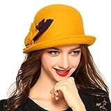 Tiadi Damen Elegant Hüte Wolle Zylinderhut KleinTrilby Frauen Pork Pie-Hüte