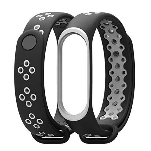 XuBa Sport Fitness Sport Sport Sport Fitness Fitness Laufen Silikon Armband Handgelenk Strap Strap für Xiaomi Mi Band 3 Smart Watch Armband Grau schwarz grau