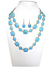 Trendeela.com Zoe Stylish Necklace Set With Gold Tone & Turquoise Work