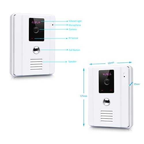 "Amocam 9"" LCD big Screen Wired Video Intercom Door Phone Kit IR Outdoor Camera DoorPhone Dual-way Talk Door bell Home Security System 1-Monitor 1-Camera Doorbell (White)"