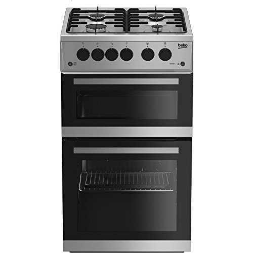41Th3Ga2gnL. SS500  - Beko KDVG592S 50cm Double Oven Gas Cooker - Silver
