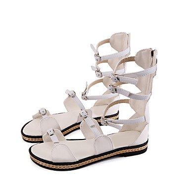 LvYuan Damen-Sandalen-Büro Kleid Party & Festivität-PU-Flacher Absatz-Komfort-Schwarz Weiß White