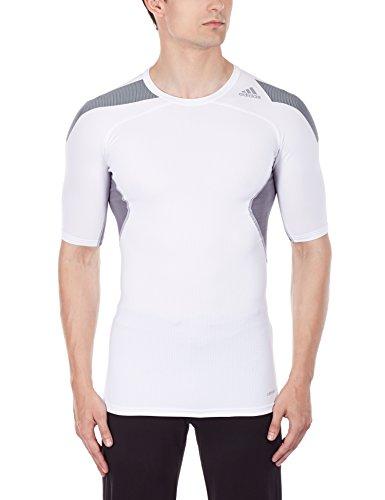 adidas Herren Kurzarm T-shirt Techfit Cool, White/Vista Grey S15, S, S19442 (Shirt L/s Away)