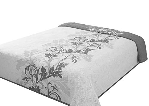 Eurofirany Tagesdecke Bettüberwurf Zweiseitig Muster Deco/Stahl + weiß 170x210