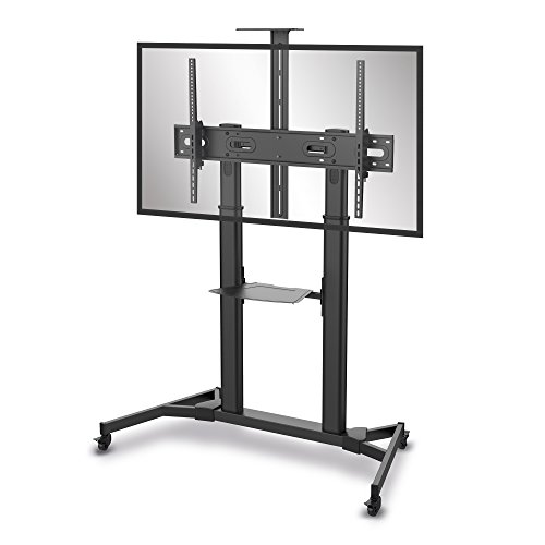 Hoher Tv-wagen (conecto LM-FS03B Professional TV-Ständer Standfuß für Flachbildschirm LCD LED Plasma höhenverstellbar 60-100 Zoll (152-254 cm, bis 100 kg Tragkraft) max. VESA 1000x600mm, Stahl, schwarz)