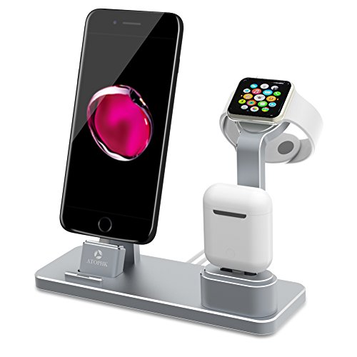 Aussparung Sammlung (ATOPHK 4 in 1 Apple iWatch Ständer Premium Aluminium Ladestation NightStand Mode, Airpods Handy Stand Desktop Halterung Dock Station für Airpods iPhone X 8 8plus 7 7plus iWatch (38mm 42mm) Grau)
