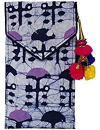 Batic Prints Hand Mobile Cover With Back Zip Pocket And Latkan For Women-Purple Print