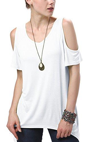 Urban GoCo Mujeres Casual Tallas Grandes Camiseta Slim Fit V Cuello Off Shoulder Túnica Tops Blanco XXX-Large