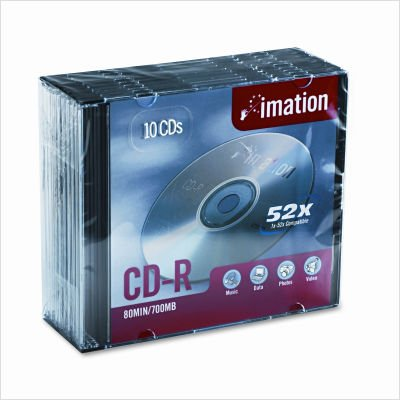 Imation IMN17332 CD Recordable Media, CD-R, 52x, 700 MB, 10 Pack Jewel Case