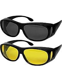 NASONEB Day & Night Unisex HD Vision Goggles Anti-Glare Polarized Sunglasses Men/Women Driving Glasses Sun Glasses UV Protection - Set of 2 Goggles (Black-Yellow) -Set of 2