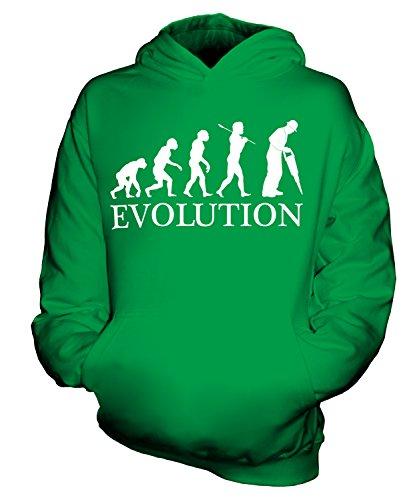 uarbeiter Evolution Des Menschen Unisex Kinder Jungen/Mädchen Kapuzenpullover, Größe 7-8 Jahre, Farbe Grün (Der Builder Kind Kostüme)