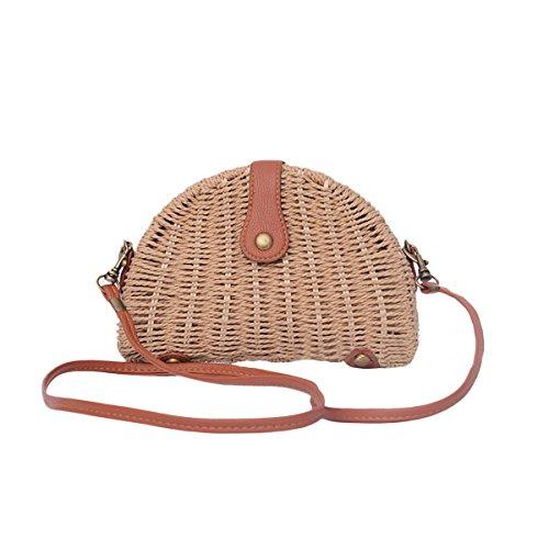 Stroh Umhängetasche, JOSEKO Stroh Crossbody Tasche Runde Sommer Strand Geldbörse und Handtaschen für Frauen Hellbraun (Stroh-strand-tote)