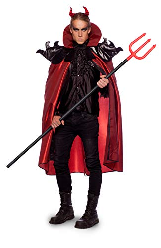 Folat 63429 Teufel Umhang mit Kopfstück Halloween Fasching Karneval (XL/XXL), Red (Herren Xxl Halloween Kostüme)