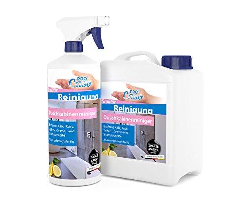 PROCaso Duschkabinenreiniger 1 Liter mit Zerstäuber + 2,5 Liter Nachfüllpack Duschkabinen Reiniger Kalk, Schmutz, Seifenreste, Trennwände aus Kunststoff, Glas, beschichtetes Glas, Acrylglas