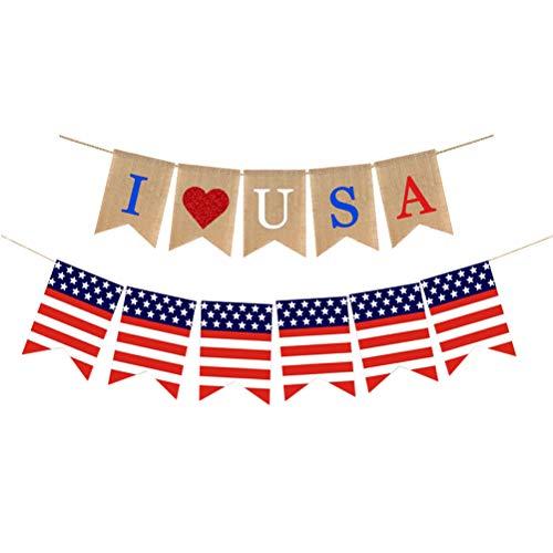Amosfun 2pcs Independence Day Sackleinen Banner amerikanischen USA Bunting Banner rot und blau Herz Banner 4. Juli Party Supplies für Independence Day Party Dekorationen