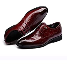 QIANGDA Zapatos De Vestir Hombres Zapatos Con Cordones Suela Blanda Fiesta Boda Primavera Otoño, Altura Del Talón 30 Mm, 2 Colores Opcional ( Color : Vino rojo , Tamaño : EU41 = UK7.5 )