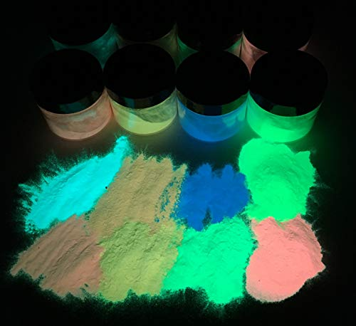 50g Premium Nachleucht Pulver – Leuchtpulver Pigmenete in höchster Qualität – Phosphoreszierende Pigmente – Selbstleuchtende Glühpulver Glow in The Dark Dunkeln Rot Grün Orange Blau (Rot)