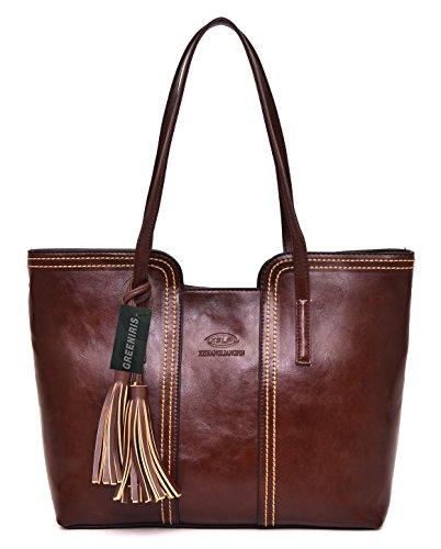 Greeniris Hobo Handtasche Damen Retro Vintage Umhängetasche Faux Leder Handtasche Für Schule Braun (Handtasche Große Hobo Weiche)