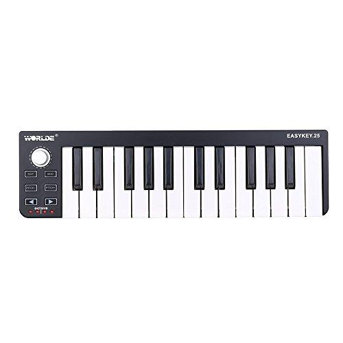 Worlde Easykey 25 Teclas Tetclado Portátil Mini USB 25-Key MIDI Controlador