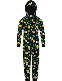 PyjamaFactory Juego Emoji Fútbol Alimentos Dormir Traje Todo en Uno