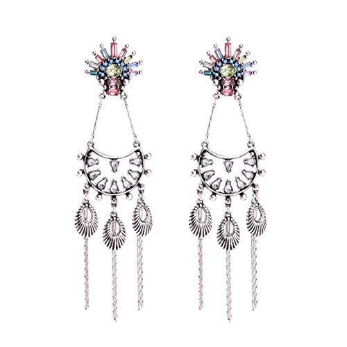 Wanmei-erhuan Multicolor Acryl Big Fringe Anstehende Lange Ohrringe Für Frauen Übertrieben Vintage Chandelier Ohrringe Schmuck