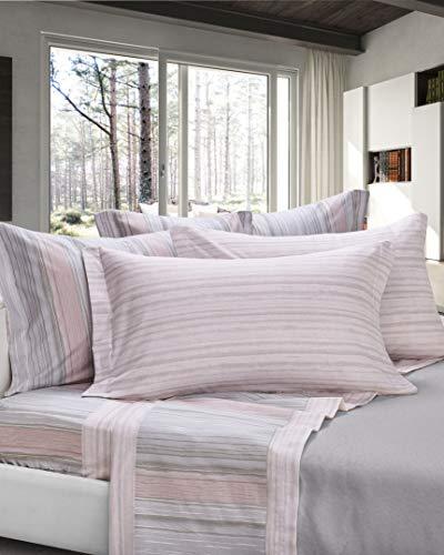 Cogal® - completo di lenzuola matrimoniali flanella - chamonix - fantasia emozionale, disponibile in vari colori, materiale 100% cotone - made in italy