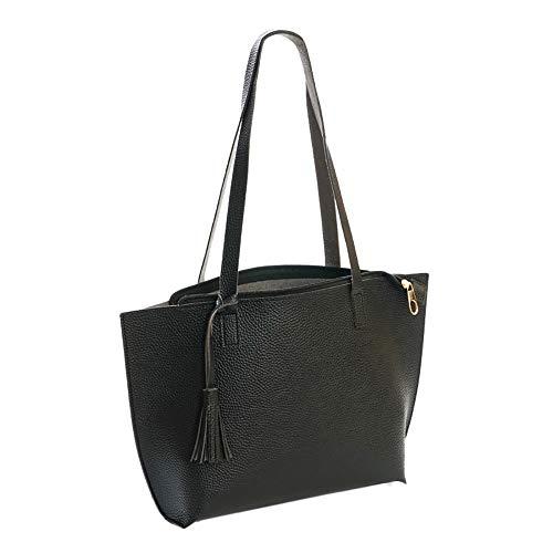 Fashion Women Handtasche Schultertasche Shopper Taschen Umhängetasche, Large Capacity Arbeitsrucksack Pure Color Tassel Leather Messenger Shoulder Bag Chest Bag Handbag -