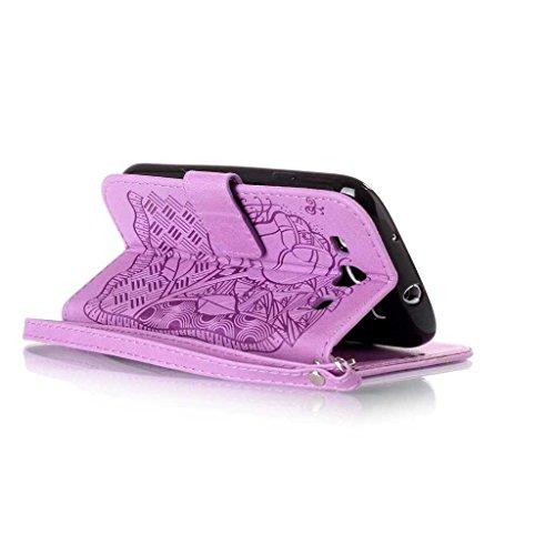 Galaxy S6 Edge Leder Hülle [mit Frei Panzerglas Displayschutzfolie], BoxTii® Galaxy S6 Edge Schutzhülle mit Kartenfächern und Bumper Silikon TPU Cover, Lederhülle Ledertasche Handyhülle mit Standfunkt #14 Violett