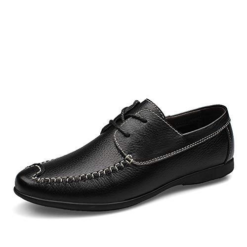 Herren-Kleiderschuhe Herren Business Oxfords für Männer Anti-Rutsch Arbeit formelle Schuhe Schnürschuhe Echtleder perforiert Atmungsaktive Nähte Fahrschuhe Haltbare Oxford-Schuhe, Schwarz , 41,5 -