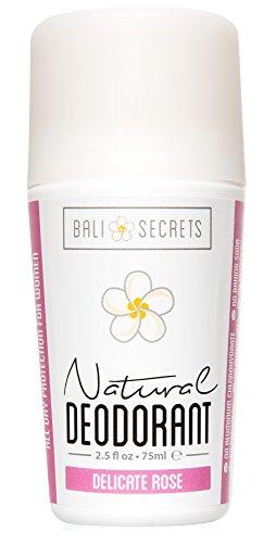 Bali Secrets Natürliches Deodorant – Bio und Vegan – Für Frauen und Männer – Frische für den ganzen Tag – Starker, verlässlicher Schutz – 75ml [Delicate Rose]