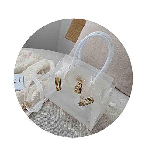 Transparente Handtasche Frauen klar PVC Sommer Strandtasche Schloss kleine Tote umhängetasche White Mini