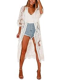 Amphia - Damen Sommer Spitzen Bluse Tops Strand Badeanzug Bedecken Pareos Kimono Cardigan Strandkleid