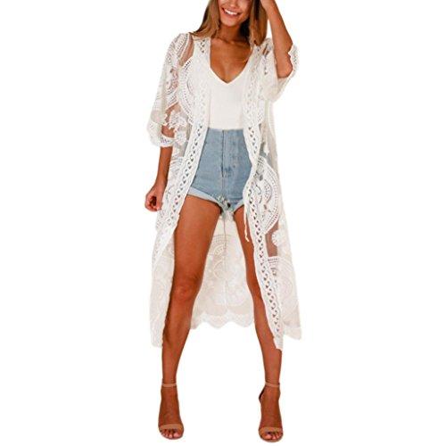 Amphia - Damen Sommer Spitzen Bluse Tops Strand Badeanzug Bedecken Pareos Kimono Cardigan Strandkleid, Weiß, Einheitsgröße