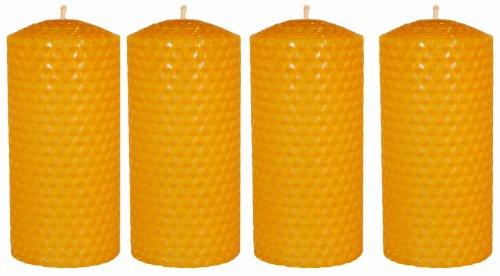 4 x Palettas Wabenkerze handgedrehte Kerze Ø 50 mm h 100 mm für Adventskranz 100% reines Bienenwachs