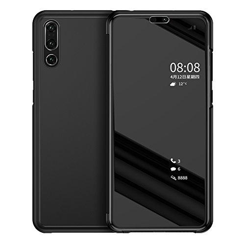WIWJ [Nicht für Huawei p20] Huawei P20 Pro Handyhülle,Huawei P20 Pro Spiegel Schutzhülle Flip Handy Case, Mirror Clear View PU Leder[Spiegel Ledertasche] Hülle für Huawei P20 Pro-Schwarz - Pro-style-folie