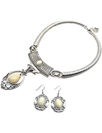 IKraft Oxidized Silver Necklace And Earring Set Antique Pendant Party Wear Oxidised Jewellery For Women And Girls