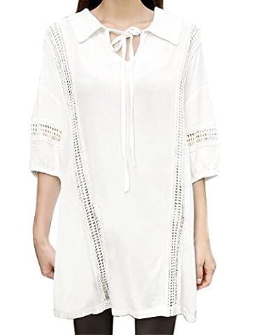 sourcingmap® Femme Crochet Panneau Manches En Eventail En vrac Robe Tunique - Femmes, Blanc, XS (UK 4)