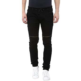 Urbano Fashion Men's Black Slim Fit Stretch Zippered Jogger Jeans (zip-jog-hps-black-28-fba)